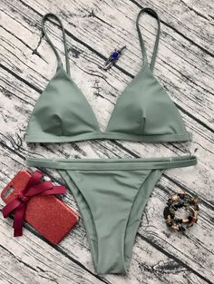 $15.49 Low Waisted Spaghetti Strap Bikini Set - GREYISH GREEN S