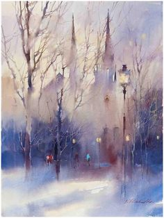 © Viktoria Prischedko Aquarelle Art You are in the right place about art dessin paysage Here we offe Art Aquarelle, Watercolor Artists, Watercolor Landscape, Landscape Art, Landscape Paintings, Watercolor Girl, Winter Landscape, Watercolor Pictures, Watercolour Paintings
