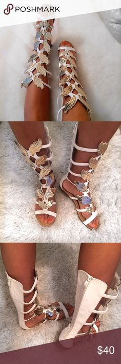 """'Gold Leaf' White Gladiator Sandals ✨🍂 Make a statement in those gladiators wherever you go!! 🙀😻. Like brand new, worn maybe once or twice. They are too wide for my calf so it's for someone with thicker calfs. Around the top area approx: 28"""". Top to bottom approx: 20"""". Says size 8.5 but better for 9. Gold leafs are not metal but plastic. Forever Shoes"""
