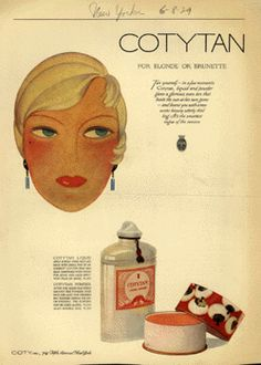Coty ad, 1929.  I didn't think bronzer came along till later, but this ad proves me wrong!