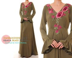 FREE SHIPPING! Embroidered Jersey Olive Green Abaya Maxi Dress - Size M/L or Size 1X/2X (6104/2930) by Tailored2Modesty on Etsy