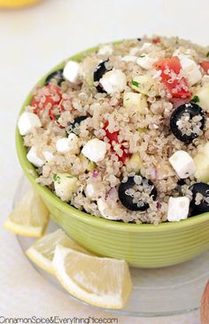 Quinoa Greek Salad. Very good, enjoyed the flavors. Used black olives instead of kalamata, and used couscous instead of quinoa.