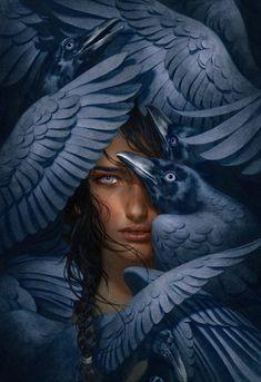 "The Storm Crow Artist: Tran Nguyen (Painter). The cover to the just released YA novel ""The Storm Crow"" by Kayln Josephson. Dark Fantasy Art, Dark Art, Art Sketches, Art Drawings, Fantasy Drawings, L'art Du Portrait, Surreal Art, Aesthetic Art, Art Inspo"