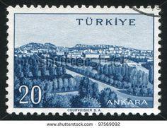TURKEY - CIRCA 1959: stamp printed by Turkey, shows Turkish city, Ankara, circa 1959. - stock photo