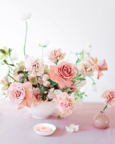 I know I've said this before, but we really need some softer toned emojis. These hot pink hearts ( 💞💓💗💕 ) aren't really sending the right… Flower Crown Wedding, Floral Wedding, Wedding Flowers, Pink Centerpieces, Wedding Table Centerpieces, Centrepieces, Wedding Flower Arrangements, Floral Arrangements, Pastel Pink Weddings