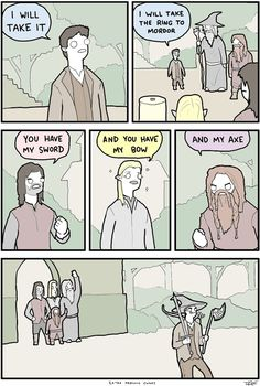 """tastefullyoffensive: """" [extrafabulouscomics] """".  You have my sword, and you have my bow and my axe...  HeHeHeHeHe..."""