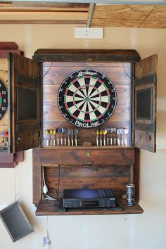 Fun Projects, Wood Projects, Woodworking Projects, Gym Man, Dart Board Cabinet, Movie Theater Rooms, Man Cave Diy, Garage Bar, Game Room Decor