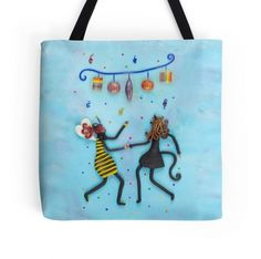 Tote Bag with Original Bee Girl and Cat Girl Art Design by Deidre Dreams