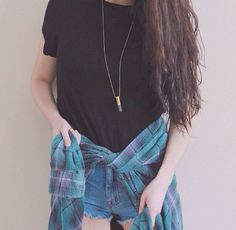 casual outfit. Black Tee, brandy melville necklace, plaid tie around shirt, denim shorts