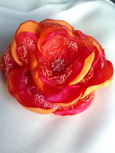 Orange and hot pink tropical hair flower with lace, sunset pink and orange hair accessory, tropical wedding