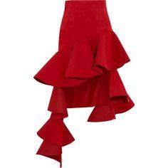 Jacquemus Ruffled asymmetric brushed-twill mini skirt ($715) ❤ liked on Polyvore featuring skirts, mini skirts, red, asymmetrical short skirt, flouncy skirt, red ruffle skirt, flounce skirt and red asymmetrical skirt