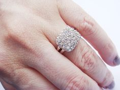 Vintage Pave Crystal Cluster Ring Engagement Ring by JennKoDesign