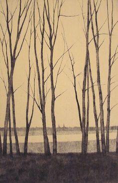 in Winter I 戸村 茂樹 Shigeki Tomura Japanese Print maker born in 1951 Landscape Art, Landscape Paintings, Art Japonais, Japanese Prints, Japanese Art Modern, Japanese Painting, Gravure, Tree Art, Asian Art