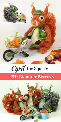 Cyril the Squirrel is the Head Gardener at Nutsford Manor. Pattern also includes instructions for Cyril's wheelbarrow, carrots and leaves. A wonderful addition to a child's toy collection or a home decor. Crochet Dolls, Crochet Baby, Free Crochet, Crochet Patterns For Beginners, Knitting Patterns, Crochet Bookmarks, Crochet Videos, Craft Stick Crafts, Crochet Animals