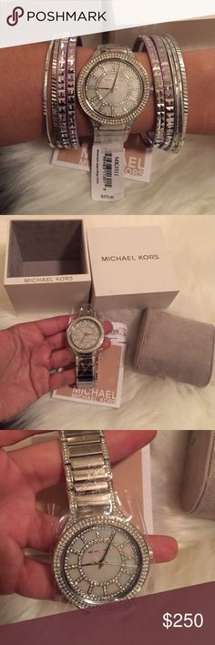 Michael Kors MK 3311 Silver KERRY Pearl Dial Watch ❗️Free Gift w/ Purchase❗️Stainless steel case w/ stainless steel bracelet Fixed silver-tone bezel set w/ crystals Mother of pearl crystal-set dial w/ silver-tone hands&crystal-set index hour markers Dial Type:Analog Quartz movement Scratch resistant mineral crystal Pull / push crown Solid case back Case diameter:38 mm Round case shape Deployment clasp w/ push button release Water resistant @ 50 meters / 165 feet. Functions: hour, minute…
