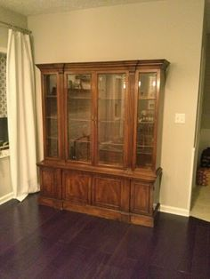 """Annie Sloan Chalk Paint China Cabinet Makeover """"Provence"""" on the inside and """"Old White"""" outside"""