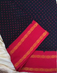 Black and cherry red madurai sungudi saree by TheMaggamCollective