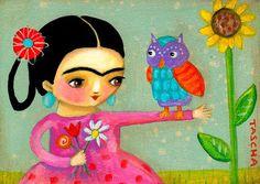 ORIGINAL Frida Kahlo OWL bouquet of flowers FOLK art by tascha
