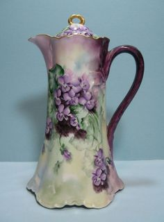 Antique Haviland France Limoges Hand Painted Forget-me-nots Chocolate Pot Antique China, Antique Glass, Vintage China, Vintage Tea, China Porcelain, Painted Porcelain, Hand Painted, Porcelain Jewelry, Cafetiere