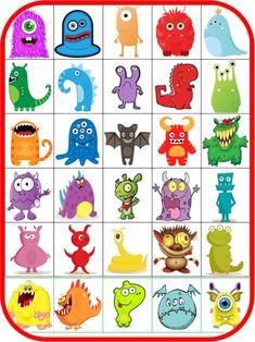 Bons points monstres - I used these to teach body parts and review numbers, kids made up a monster, then wrote down how many of each body part they had.