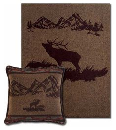 Rocky Mountain Elk Pillow and Throw Set - Great for Decorating - Great for Gift Giving  - Buy at Snugglebug Pillows and Throws www.snugglebugpillowsandthrows.com