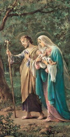 """Um anjo é enviado por Deus para salvá-los das mãos de Herodes: """"Levanta-te, pega o menino e sua mãe e foge para o Egito! Fica lá até que eu te avise! Porque Herodes vai procurar o menino para matá-lo"""". Catholic Pictures, Jesus Pictures, Blessed Mother Mary, Blessed Virgin Mary, Christian Images, Christian Art, Catholic Art, Religious Art, Vintage Holy Cards"""