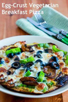 Egg-Crust Vegetarian Breakfast Pizza [from Kalyn's Kitchen] #LowCarb  #GlutenFree