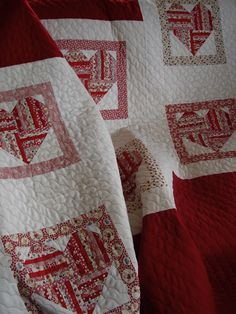 """Jacquie Gering's """"Be Still My Heart"""" found her blog link on We all Sew website. I love red and white quilts."""