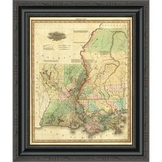 """East Urban Home 'Louisiana and Mississippi; 1823' Framed Print Size: 16"""" H x 12.875"""" W x 1.5"""" D"""