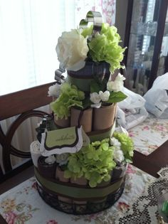 May 13...a favorite DIY project...wedding shower towel cake, complete with napkins, placemats, & cookie cutters