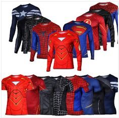 Marvel Super Heroes Avenger Batman sport T shirt Men Compression Armour Base Layer Long Sleeve Thermal Under Top Fitness XS-8XL