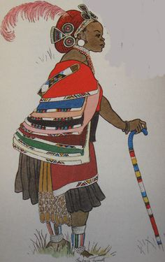 Ntwane bride by Barbara Tyrrell (respected South African Tribal Costume Artist) | The Ntwane tribe, a tribe of Swazi origin who were displaced by tribal wars,  ended up living in the Drakensberg Mountains of Natal, sandwiched between the Zulu and Bapedi (Northern Sotho) tribes. Tyrrell's painting shows the young bride wearing her cape, together with the Zulu black leather skirt and red head dress of marriage. | ca. prior to 1960s