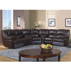 @Overstock - This is a brand new modern style bonded leather five-piece reclining sectional sofa with two consoles