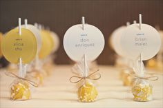 cake pops and escort cards... a lot of work but very cute