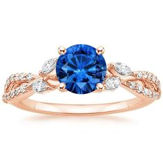 14K Rose Gold Sapphire Luxe Willow Diamond Ring (1/3 ct. tw.) from Brilliant Earth