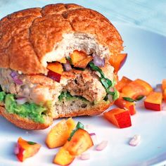 Chipotle Turkey Burgers accompanied with the nectarine basil salsa that was pinned to this board!