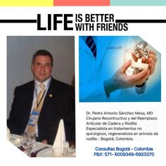 Dr Pedro Antonio Sánchez Mesa, MD, Ortopedista y Traumatologo, Cirujano Reconstructivo y del Reemplazo Articular de Cadera y Rodilla, experto en tratamientos sin cirugías en aquellas personas que tienen riesgos altos anestésicos. Solicite su cita hoy mismo al PBX: +571-6923370 Ext. 10-02, Móvil: +57-314-2448344, zona Norte de la ciudad de Bogotá, Colombia.