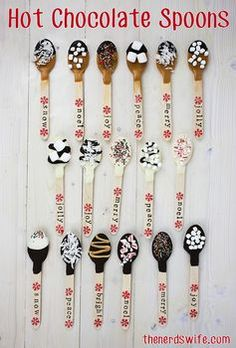 Hot Chocolate Spoons.  Caramels and toffee are perfect for the fall, while marshmallows and peppermint we use during the Christmas season!