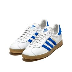 timeless design 4ecc5 301a5 gazelle vintage sneakers color whiteblue-adidas originals gazelle sneakers  with white leather upper