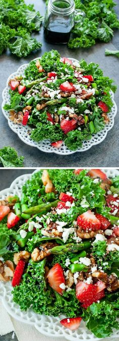 Strawberry Kale Salad :: this tasty kale salad is loaded with fresh strawberries, asparagus, feta, homemade candied walnuts, and topped with a fruity strawberry-infused balsamic dressing