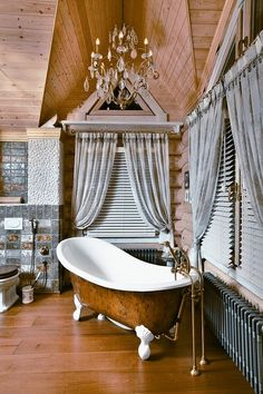 This is a bathroom in a large 640 square meter house that is located in Novokuznetsk, Russia. It's designed by Tatiana Rozhkova as a Russian fairy tale that meet all modern requirements for comfortable living.