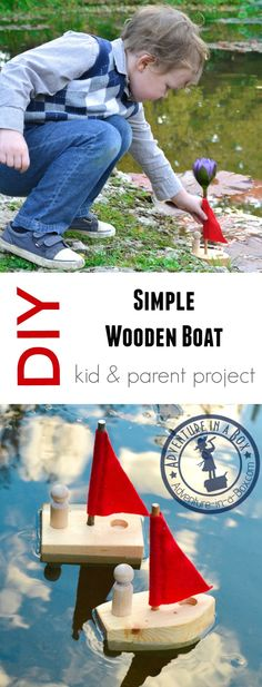 For kids who want to complete their first woodwork. For kids who want to complete their first woodworking project – try this simple DIY boat made from a scrap of wood some dowels and felt! Wood Projects For Kids, Wood Projects For Beginners, Woodworking Projects That Sell, Woodworking For Kids, Popular Woodworking, Woodworking Jigs, Custom Woodworking, Woodworking Furniture, Project Ideas