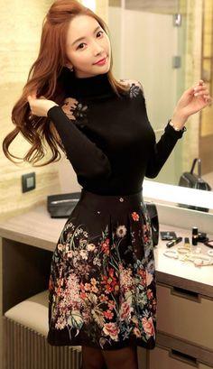 StyleOnme_Romantic Floral Jacquard Full Skirt #skirt #floral #flowery #fullskirt #miniskirt