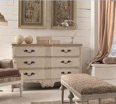 Cómoda cajones blanco decapado Dresser As Nightstand, Table, Furniture, Design, Home Decor, Mesas De Luz, Natural Wood, White Colors, Drawers