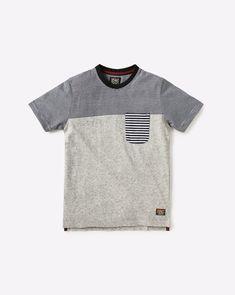 Buy YB DNMX Boys Grey Colourblock T-shirt with Striped Patch Pocket   AJIO