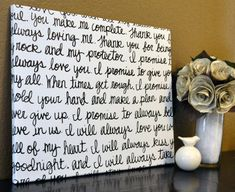 Custom Wedding Vows Handwritten Script Canvas Wall Art Painting Black And White Wedding Gift Wedding Decoration Home Decor Song Lyric on Etsy, $40.00