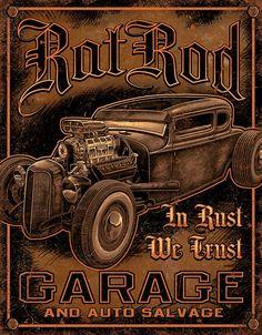 Rat Rod Garage Steel Sign - Free Shipping on Orders Over $99 at Genuine Hotrod Hardware