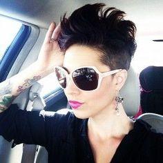 Short Hairstyles for Dark Hair - hair Cute Short Haircuts, Cute Hairstyles For Short Hair, Short Hair Cuts For Women, Pixie Hairstyles, Short Hair Styles, Mohawk Styles, Black Hairstyle, Love Hair, Great Hair