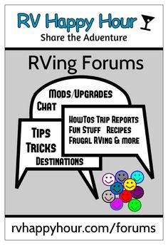 RVHappyHour.com has a growing forum section with lots of information on many aspects of RVing. RVers helping RVers in a friendly atmosphere. http://rvhappyhour.com/forums/ - #RV Tips #Forums #RV Help
