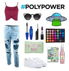 """#polyvorepower"" by nazar-erginyavuz on Polyvore featuring moda, Topshop, adidas, T-shirt & Jeans, MAC Cosmetics ve Maybelline"